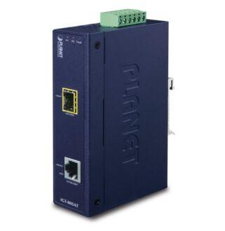 IP30 Industrial 10/100/1000Base-T to Gi- gabit ŰSFPConverter with 802.3at
