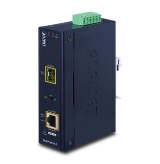 IP30 Industrial 10/100/1000Base-T to Gi- gabit ŰSFPConverter with 802.3at POE+