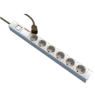 Kontaszetsor 6-os 2,5m fekete kábel C14-as csatlakozóval,schuko aljzattal
