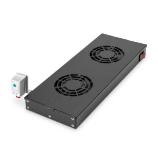 Ventilátor panel Digitus szek.hez 2 fans +termosztát fekete / DN19 FAN-2-HO-SW