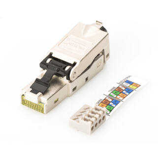 Shielded RJ45 connector for field assem. AWG 22-27, 10 GBit ethernet, PoE+, dust