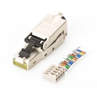 Shielded RJ45 connector for field assem. AWG 22-27, 10 GBit ethernet, PoE+, dust