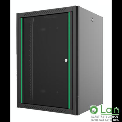9U fali rack szekrény 600x600 hegesztett fekete